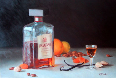 Painting of amaretto, vanilla beans, dried apricots