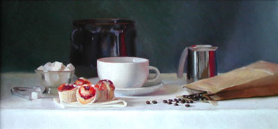 Painting of coffee and pastries
