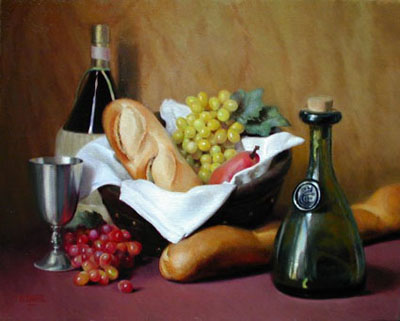 Painting of grapes, French bread, wine