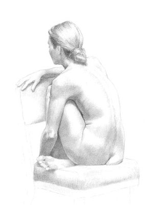 Pencil drawing of female figure