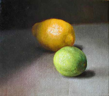 Painting of a lemon and lime