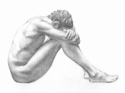 Pencil drawing of male figure