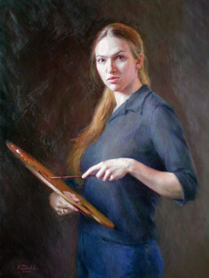 Portrait painting of the artist